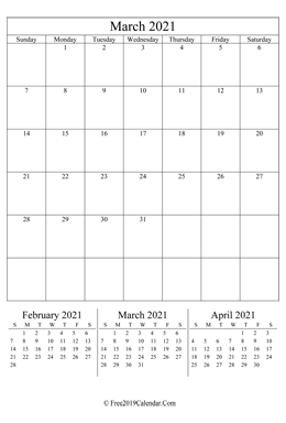 blank March calendar 2021 portrait