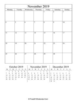 november 2019 calendar printable with holidays