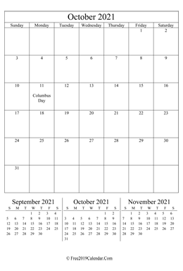 blank October calendar 2021 portrait