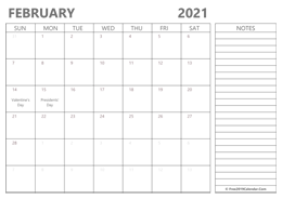 editable February 2021 calendar with notes