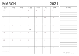 editable March 2021 calendar with notes