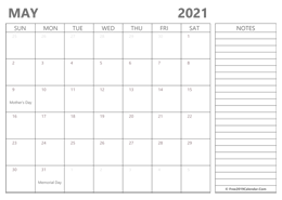 editable May 2021 calendar with notes