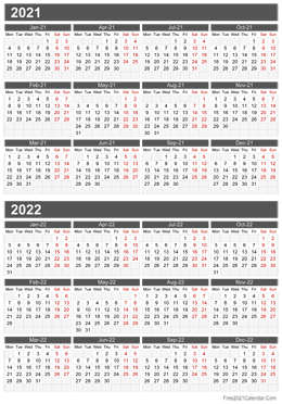 two years calendar 2021 2022